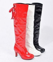 Wholesale Dance Shoes Wedge Heels - Wholesale-2015 pu botas femininas motorcycle boots shipping!2015 new over-the-knee high-heeled shoes japanned steel pipe dance !hot sale