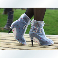 Wholesale High Heels Waterproof Boots Women - Wholesale-New Arrival No-slip PVC Rain Shoes Cover For High Heels flat Women Waterproof Rainproof Boots Portable in bags reuseable