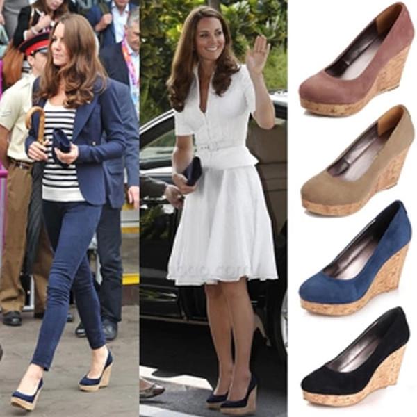 Toptan-Prenses Kate Middleton Aynı Stil takozlar yüksek topuklu ayakkabılar platform pompaları