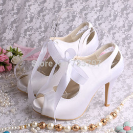Wholesale Silver Bridal Shoes Wedges - Wholesale-FREE SHIPPING High Quality Open toe Ivory Lace up Bridal Wedding Shoes White Satin High Heeled