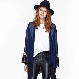 Argentina Wholesale-2015 Plus Size Woman Clothes Summer Autumn Casual Tassel Shirt Women Blouse Long Batwing Sleeve Kimono Cardigans Chiffon Blouses Suministro