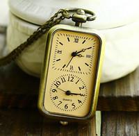 Wholesale Dual Movements - Wholesale-Bronze Quartz Pocket Watch Double Time Zone Dual Movement Necklace Pendant Chain