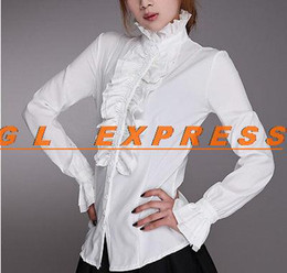 Wholesale Womens White Shirts Collar - Wholesale-Ladies High Neck Frilly Womens Vintage Victorian Ruffle Top Shirt Blouse