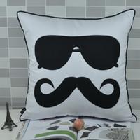Wholesale Skin For Sofa - Wholesale-45*45 CM Cool Mustache Sunglasses Print Peach Skin Fabric Throw Cushion Cover Pillowcase for Sofa Chair