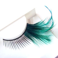 Wholesale Feather False Lashes - Wholesale-5 pcs pack Peacock green long artificial false eyelashes Free shipping