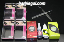 Wholesale Eyelash Kit Glue - Wholesale-4cases 8 10 12 14mm C Curve MINK eyelash + 10ml black glue for lashes Curved and Straight tweezer eyelash remover Eyelash kit