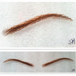 Wholesale Eyelash Extensions Color - Wholesale-free shipping women style 100% human hair false eyebrows with lace nature looking brown color handmad eyelash extension