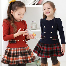 Wholesale Vestidos Infantil - Wholesale-2015 New School Girl Dress Scottish Double Breasted Girl Plaid Dresses Pleated Vestidos Infantil Manga Long Sleeve Autumn Spring