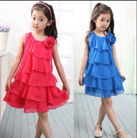 Wholesale Girls Blue Chiffon Dress - Wholesale-Free Shipping 2015 Summer children's clothing girls dress children chiffon sleeveless dress Red Blue Yellow