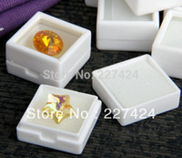 "Wholesale Display Jewelry Diamond - Wholesale-Free Shipping 35pcs White Plastic Square Gem Gemstone Diamond Jewelry Beads StudEarring Display Box Case Showcase 1x1"" #90157"