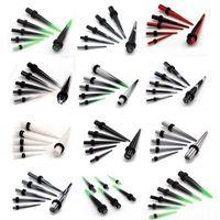 Wholesale Stretcher Plug Kit - Wholesale-12pcs 2-8mm Gauge Acrylic Ear Plug Expander Kit Taper Tunnel Stretcher piercing