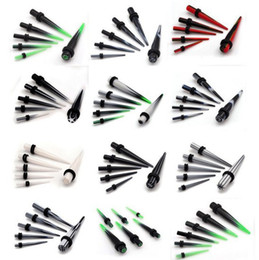 Wholesale Stretcher Plug Kit - Wholesale-12pcs 2-8mm Gauge Acrylic Ear Plug Expander Kit Taper Tunnel Stretcher piercing