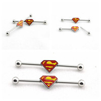 Wholesale Superman Ear Tunnels - Wholesale-1 Pair 1.6mm Yellow Color Stainless Steel Tunnels and Plugs Superman Industrial Barbell Body Ear Piercing Jewelry Earrings LD36