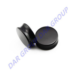 Wholesale Ear Tunnel Large - Wholesale-DAR - 1Pair Large Size Black Acrylic High Polished Double Flare Saddle Flesh Ear Tunnels Plugs Stretcher Expanders Earlets Gauge