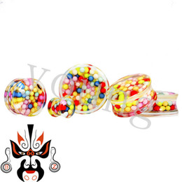 Wholesale Stretcher Balls - Wholesale-fashion acrylic saddle ear plug tunnel stretchers piercing body jewelry with ball in side