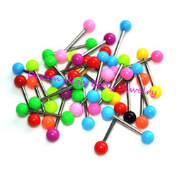 Wholesale Tounge Piercing Jewelry - Wholesale-New Neon Tongue Bars Piercing Tounge Ring Wholesale Studs 16mm Straight Fashon Body Piercing Jewelry UV Ball 14G 200pcs lot