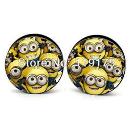 Wholesale Despicable Plug - Wholesale-Minion Despicable Me Yellow Dolls Logo Free Shipping Ear Plugs Body Piercing Jewelry Flesh Tunnel