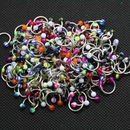 Wholesale Acrylic Cbr - Wholesale-uv acrylic 50pcs mix color design horseshoe cbr wholesale body piercing jewelry mix 3mm ball circular barbell ring