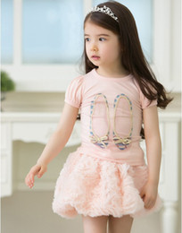 Wholesale Ballerina Shoes Girl - Wholesale-2015 new baby Tshirt ballerina shoes on the front of tshirt girls fashion cotton tshirt kids top children cloth wholesale 5 pcs
