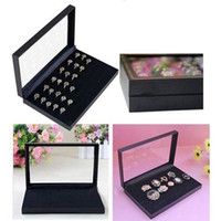 Atacado-36 Slots Jóias Rings Show Showcase Display Case Box Suporte de armazenamento Organizador Drop Shipping RING-0106-BK