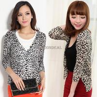 Wholesale Leopard Print Sweater Top - Wholesale- New Fashion Women Leopard Print Tunic Cardigan Knitwear Sweater Blouse Tops Drop Shipping 16269