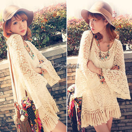 Wholesale White Hippie Blouse - Wholesale-Hot Vintage Hippie Boho Bell Sleves Gypsy Festival Fringe Women Lace Mini Dress White Top Blouse Retail Wholesale B6 SV001275