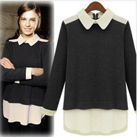 Wholesale peter pan blouses - Wholesale-2015 Autumn And Winter Peter Pan Collar Chiffon Women Blouses Patchwork Long-Sleeve Knitted Pullover Sweater Women Tops 1135
