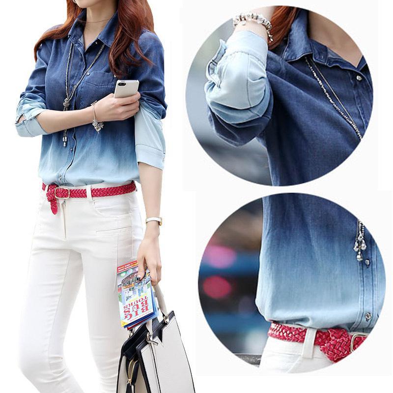 d1ff522c3bd 2019 Wholesale Maxi 2015 Spring Denim Blouses Shirts Ladies Gradient  Pattern Cotton Blusinhas Camisa Jeans Women High Street Denim Shirts S XXL  From ...