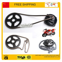 Wholesale 49cc Mini Quad Bike Parts - Wholesale-chain +front gear box + rear sproket set 47cc 49cc pocket bike mini moto atv quad 2 stroke part free shipping