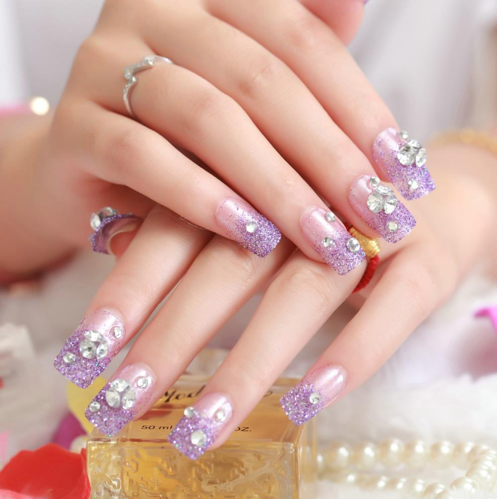 Wholesale Fashion Crystal Fake Nails High Quality Artificial ...