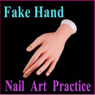 Vente en gros-Nail Art Equipment Faux main réglable Nail Art Fake Hand pour la pratique de la formation, Livraison gratuite en gros