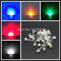Wholesale White Led 5mm Straw Hat - Wholesale-Free Shipping 5kind x100= 500 pcs Ultra Bright White  Blue  Green  Yellow  Red 5mm Straw Hat LEDS Diode