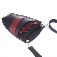 bolsa de tesoura de couro venda por atacado-Atacado-Hair Scissors Leather Barber Cabeleireiro Coldre Pouch Rivet Clips Titular Caso Salon Scissor Bag com cintura Ombro Cinto