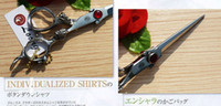 Wholesale Hair Dressing Scissors Inch - Wholesale-Dragon Professional Hair dressing cutting Barber shears 6 inches Dragon Carved handle Big red stone,High-grade quality S159