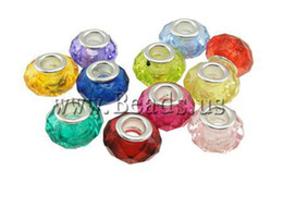 Wholesale Acrylic Bead European Mixed - Wholesale-Best Selling Crazy Cheap Mixed Colors Silver Plated Big Hole European Acrylic Beads for European Bracelet