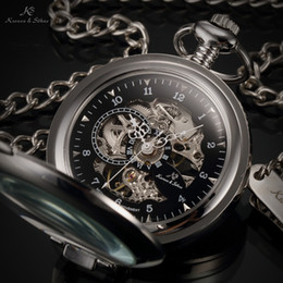 Wholesale Men Skeleton Pocket Watch - KS Luxury Black Skeleton Self-stand Case Analog Hand Wind Mechanical Relogio Fob Pendant Chain Steampunk Men Pocket Watch KSP063