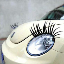 Wholesale Wholesale Car Headlights - Wholesale-Free Shipping 2pcs 3D Charming Black False Eyelashes Eye Lash Sticker Car Headlight Decoration Funny Decal For Beetle