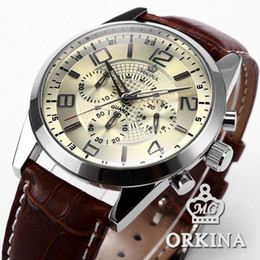 Wholesale Orkina Mens - Orkina Mens 24 Hours Display Stopwatch Stainless Steel White Dial Brown Leather Band Analog Fashion Casual Quartz Watch  ORK068