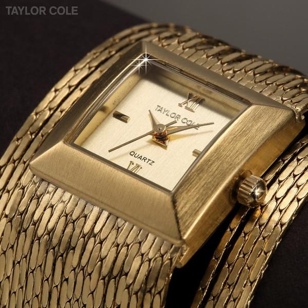 a3d070eac2a Taylor Cole Luxo Praça Gold Brass Caso Relógio Feminino Analog Tassel Banda  Pulseira Lady Dress Relógio