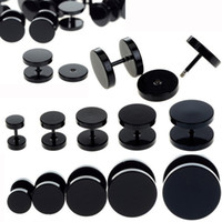 Wholesale Fake Ear Gauges - Wholesale-10pcs Black Stainless Steel Fake Cheater Ear Plugs Gauge Body Jewelry Pierceing