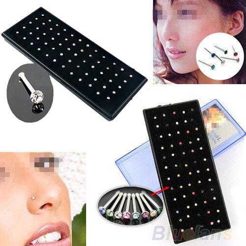 Wholesale-Indian style 60pcs/set Crystal Rhinestone Nose Ring Bone Stud Surgical Steel Body Piercing Jewelry 02U5