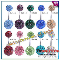 Gros-12mm8mm Cristal Disco Shamballa Boule JewelryBelly corps Bouton Belly Navel Ring Body Piercing Mix options BJLmix2