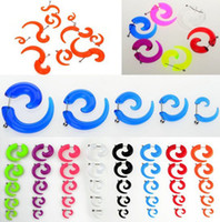 Atacado-10pcs FALSIFICADO espiral Taper sólido transparente Illusion Acrílico Stud Ear Cheater plug