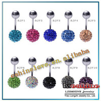 Gros-8mm Cristal Disco Shamballa Boule Belly Ring, Nombril Belly Button Navel Ring Body Piercing options Mix BJFmix1