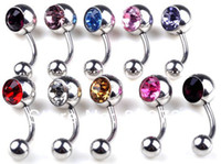 Wholesale Navel Rings Body Piercing - Wholesale-12pcs wholesale bulk belly tongue lip crystal stainless steel body piercing jewelery navel rings Free Shipping [BB39*12]
