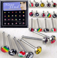 Wholesale Nose Jewelry Cheap - Wholesale-24pcs Wholesale Body Jewelry Nose Ring Piercing Nose Studs With Pad Mixed Style Cheap Price Free Shipping