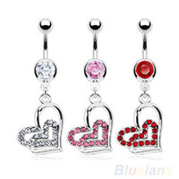 Wholesale Large Belly Button Rings - Wholesale-Surgical Steel Large Dangling Heart Belly Button Navel Ring 1O9D