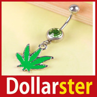 Atacado- [Dollar Ster] Green Maple Leaf Cristal Estilo Umbigo Umbigo Barbell Anel Body Piercing 24 horas expedição