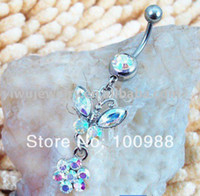 Wholesale-10PCS / Lot di trasporto, BJ0052 Labret Monroe internamente Piercing strass anello ombelico