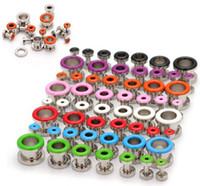 Wholesale Stretcher Earrings - Wholesale-14pcs Stainless Steel Screw Ear Gauges Flesh Earrings Tunnels Plugs Stretchers Expander Piercings Free Shipping